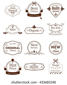 Set of vintage labels with ecological thematics - natural, organic, and quality guarantee labels.