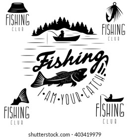 set of vintage labels with fishing theme