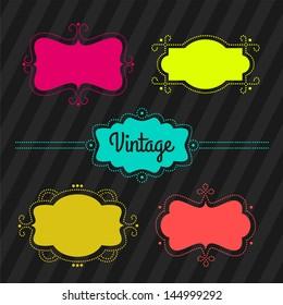 Set. Vintage labels, frames