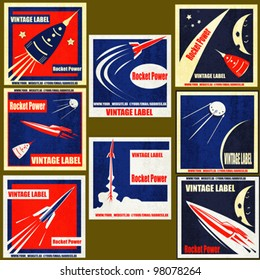 A set Vintage Labels with illustrations of retro style space rockets
