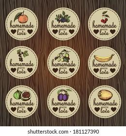 Set of vintage labels for jam