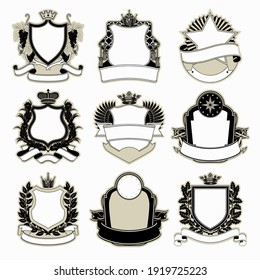 Set of vintage labels in linear and engraving style. Vector illustration