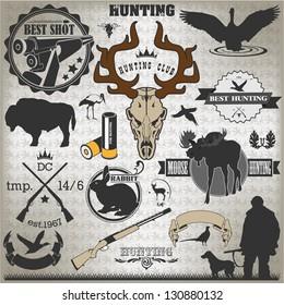 Set of vintage labels on hunting 2