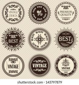 Set of vintage labels on a light background. Retro style. Vintage collection