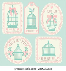 Set with vintage labels and postcards. Vintage bird cages.