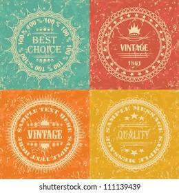 Set of Vintage Labels. Retro Style, Grunge Effect