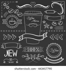 Set of vintage labels, ribbons, frames, banners, logo and advertisements for menu board for restaurant and coffee shop. Hand drawn in chalk on a blackboard vector sketch illustration.