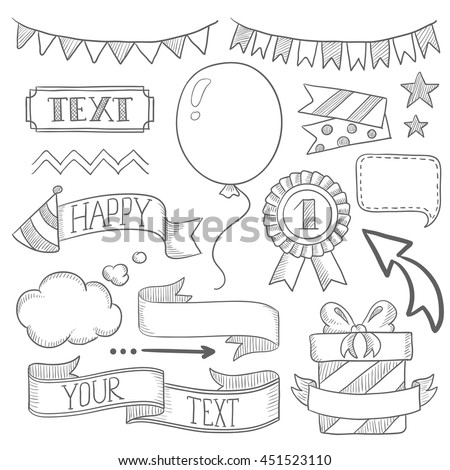 Set vintage labels ribbons frames banners stock vector royalty free set of vintage labels ribbons frames banners and elements for party or birthday filmwisefo