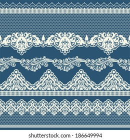 Set of vintage lace borders. Could be used as divider, frame, etc