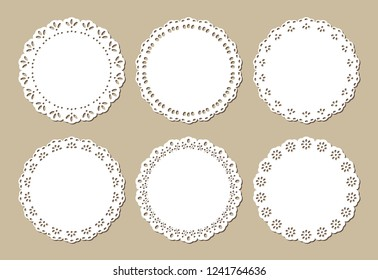 Set of Vintage Lace Doilies, Decorative Paper Cut Out Design