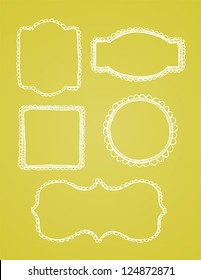 A set of vintage lace hand drawn borders are shown on a yellow background.