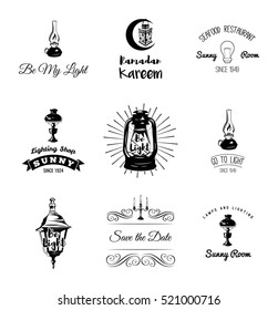 Set of vintage lamps and lighting logo, emblems, badge and design elements. Vector illustration. Lantern, holder candle, flame, lamp. Isolated On White