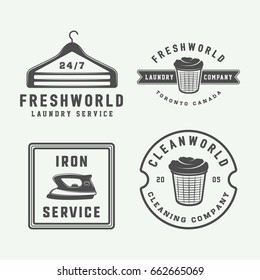 Set of vintage laundry, cleaning or iron service logos, emblems, badges and design elements. Monochrome Graphic Art. Vector Illustration.