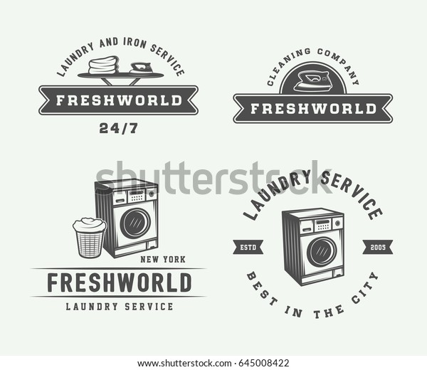 Set Vintage Laundry Cleaning Iron Service Stock Vector