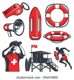 Set of vintage lifeguard colored elements. isolated on white background.