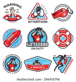 Set of vintage lifeguard colored emblems isolated on white background.