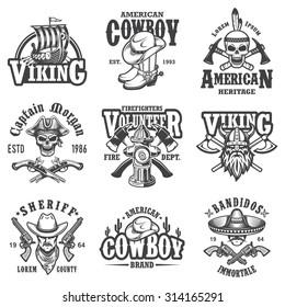 Set of vintage lifestyle emblems, labels, badges, logos. Monochrome style