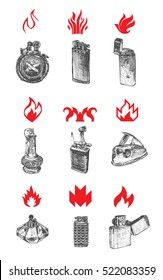 Set of vintage lighters. Collection of logos of fire and flame. Vector engraved illustration isolated on white background. Hand Drawn cigarette-lighters