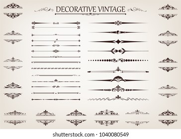 set of vintage line with beautiful filigree,ornamental retro frame, decorative antique border, vector illustration