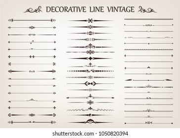 set of vintage line with beautiful filigree,ornamental retro frame, decorative antique border, vector illustration