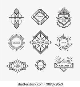 Set of vintage linear thin line geometric shape art deco retro design elements with badge
