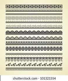 Set of vintage lines on beige background