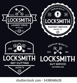 Set of vintage locksmith logo, retro styled key cutting service emblems, badges, design elements, logotype templates. Vector illustration.