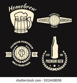 Set of vintage logo, badge, emblem or logotype elements for beer, shop, home brew, tavern, bar, cafe and restaurant