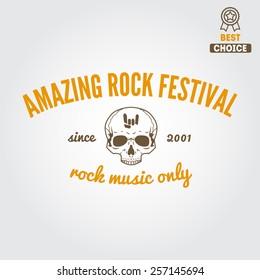 Set of vintage logo, badge, emblem or logotype elements for rock festival, musical performance or guitar party