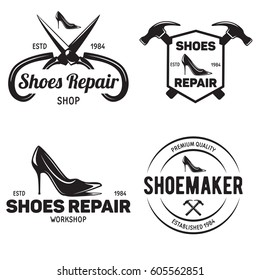 Set of vintage logo badge emblem or logotype elements for shoemaker shoes  shop and shoes repair