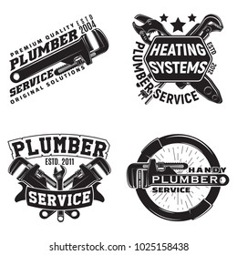 Set of vintage logo graphic designs, print stamps, plumbers typography emblems, Creative design, Vector