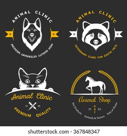 Set of vintage logo and logotype elements for pet shop, pet house, pet and exotic animals clinic.