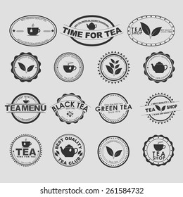 Set of vintage logo on a white background for tea shops, cafes and restaurants. Vector element design, logos, stickers, icons, business signs.