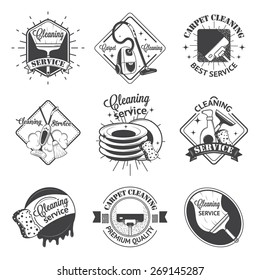 Set of vintage logos, labels and badges cleaning services. Isolated on white background