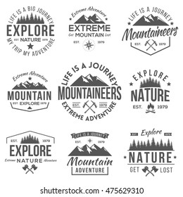 Set of Vintage Logos Mountaineer and Nature