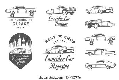 Set Vintage Lowrider Logo Badge Sign Emblems Sticers And Elements Design