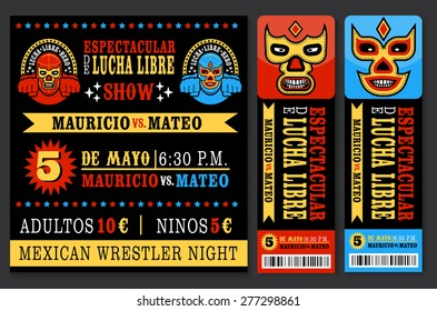 Set of vintage Lucha Libre tickets