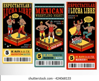 Set of vintage Lucha Libre tickets. Vectr illustration. (Espectacular de Lucha Libre-Spectacular Fight $;Adultos, Ninos- adults, children;Mayo-May)