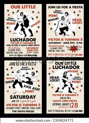Set Vintage Lucha Libre Tickets Stock Vector Royalty Free