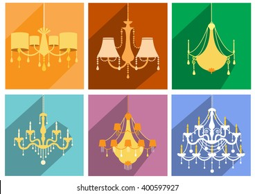 Set of vintage and luxury chandelier flat icon,Vector illustrations