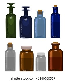 Set of vintage medicine bottles isolated on white