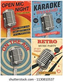 Set of vintage mic posters.