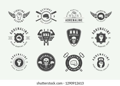 Set of vintage mixed martial arts or fighting club logos, emblems, badges, labels, marks and design elements. Retro graphic art. Vector Illustration. - Vector