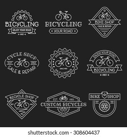 Set of vintage and modern bicycle shop logos, labels, badges and design elements. Business signs templates, icons, identity design elements and objects.