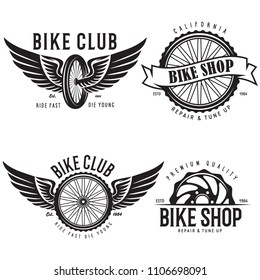 Set of vintage and modern bike shop logo badges and labels. Cycle wheel isolated vector. Old style bicycle shop and club logotypes. Creative Vector Typography Poster Concept.