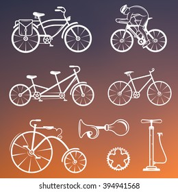 Set of vintage, modern and retro logo, sign, icons and silhouette bicycle, pro bike and equipment. Cycling typography sign for old emblems - Stock Vector