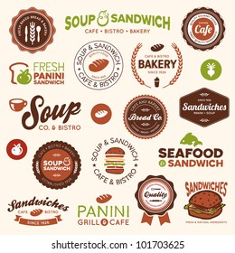Set of vintage and modern sandwich shop and bistro cafe labels