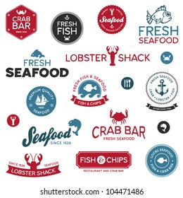 Set of vintage and modern seafood logo restaurant labels