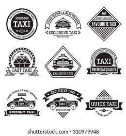 Set of vintage and modern taxi logo, labels, badges and design elements. Taxi service business signs templates, icons, corporate identity design elements and objects.
