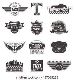 Set of vintage and modern taxi logos, taxi labels, taxi badges and taxi design elements